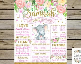 Beautiful Girl FIRST BIRTHDAY Chalkboard, Elephant Floral 1st Birthday Chalkboard, Cute Elephant Birthday Chalkboard, Watercolor Flowers