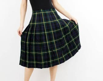 25% OFF Vintage Plaid Skirt / Accordion Skirt / Wool Skirt /  Lady Harrington / Tartan Skirt / Vintage Skirt / Boho Skirt / Checkered Skirt