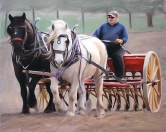 Horse Portrait - Custom Horse Painting from Photo - Farming Portrait - Farming Gift - Photo to Painting - Custom Portrait