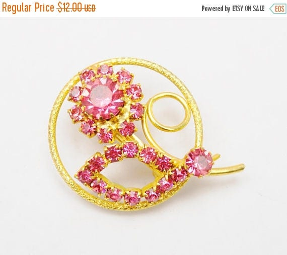 Pink Rhinestone Flower Brooch -Mid century floral pin - gift for her