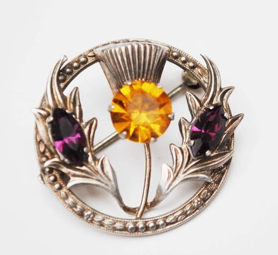 Sterling Scottish Thistle Brooch - Orange yellow and purple rhinestone - Silver repousse saah celtic pin Signed WB Ward Brothers