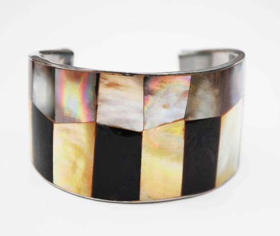 Mother of Pearl Onyx Abalone Cuff Bracelet   - White shell inlay -   Wide Boho  Bracelet