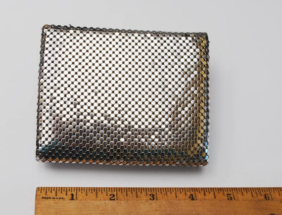 Silver Metal Mesh wallet - Whiting and Davis signed - snap change wallet