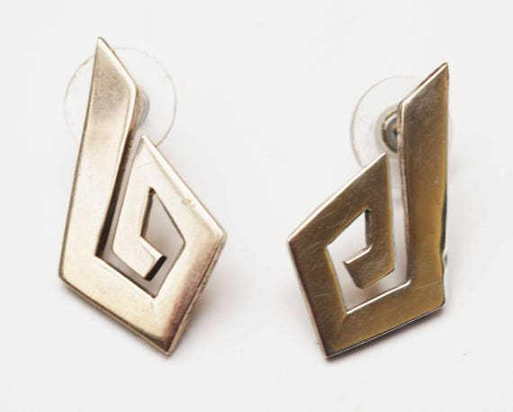 Sterling modern  Earrings - Signed Mexico -abstract diamond -Modernistic - Large silver pierced earring