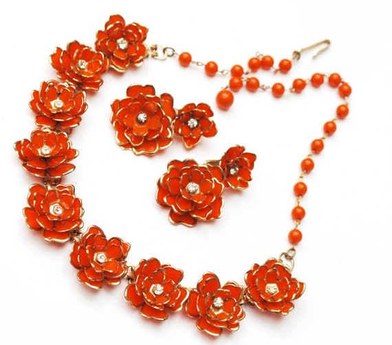 Orange  Flower necklace earring set -Plastic floral - clear rhinestone - gold trim