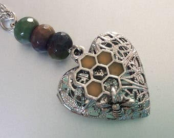 Bee and Honeycomb Locket Necklace - agate beads