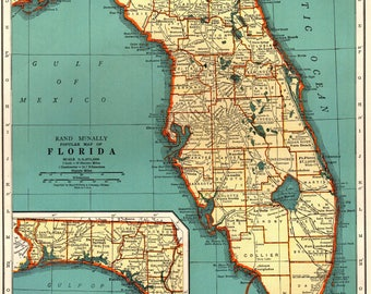 Vintage Florida Map Etsy - Florida map state