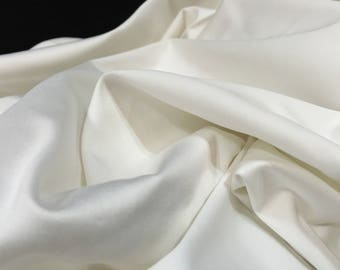 Satin White Cotton Stretch Sateen, White Fabric, Bridal Fabric, Wedding Dress Material, White Material, Satin White Fabric