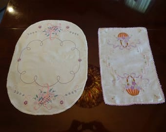 Set of 2 Coordinating Hand Embroidered Vintage Doilies