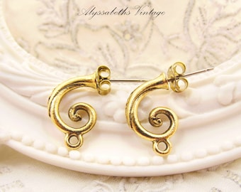 Antique Gold Curled Tendril Hoop Stud Earring Post with Loop Earwire Findings Jewelry Supplies - 2