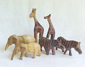 Vintage Wooden Animal Beads  - Hand Carved Natural Wood - Elephant Zebra Giraffe - Drilled to String -  Dyed Stripes and Spots - 3 Pairs