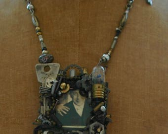 """Industrial Chic Art-to-Wear Necklace - """"Industrial Glory with Picture Frame"""""""