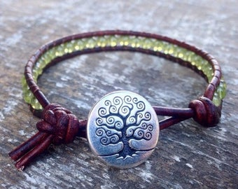 XMAS IN JULY peridot beaded leather wrap bracelet lime green and silver one wrap with silver tree August birtstone birthday gift
