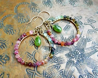 Wire Wrapped Tourmaline and Vesuvenite Gemstone Brass Hoops on 14K Gold Filled Hand shaped Ear Wires