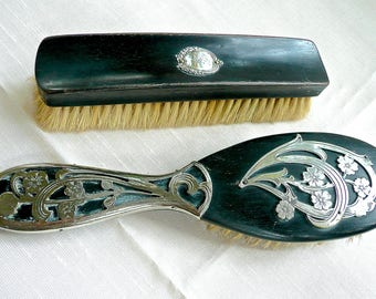 Antique Dresser Set - Pair of Hair Brushes -Vanity Brush s - Ebony -Silver Art Nouveau Decoration - Floral Decorated Brushes - Hair Brushes