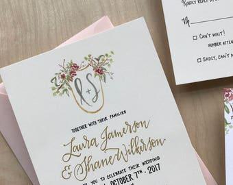 Custom Crest Wedding Invitation Suite / Calligraphy Wedding Invitation / Floral Watercolor Wedding Invitation / Custom Wedding Invite