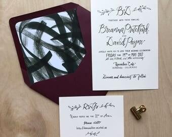 Elegant Wedding Invitation Suite / Olive Branch Wedding Invitation / Simple Wedding Invitation Set / Custom Calligraphy Wedding Invitation