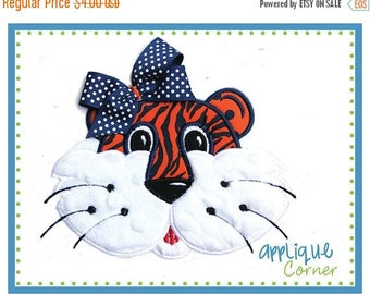 40% OFF 136 Tiger girl with tack down for bow applique digital design for embroidery machine by Applique Corner