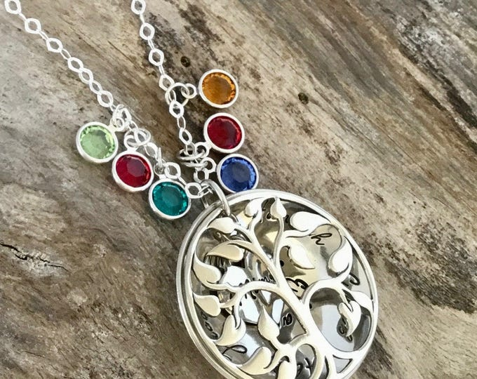 Personalized Mothers Gift | Family Tree Necklace | Mothers Birthstone Necklace | Grandma Necklace | Sterling silver