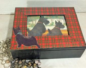 Plaid Jewelry Box, Scottie Dogs Jewelry Keepsake box, Tartan Plaid and Black Trinket Box, Dog Lovers Jewelry Box Organizer, Scottie Dogs