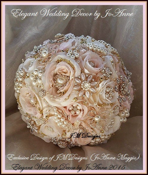 Custom Brooch Bouquet Blush Pink And Gold Jeweled Wedding Rose Broach Vintage DEPOSIT