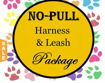 Puppy Love Sale - 40% Off No Pull Harness & Leash Package - Dog Harness Set - Available in all Dog Collar Listings - Fabric name