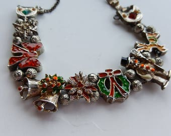 Vintage Charm Bracelet Christmas Seasonal Holiday Retro Snowman Jewelry Costume
