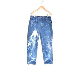 80s Destroyed Bleached Jeans Rustler 32x33 Distressed Worn In Men's Work Pants