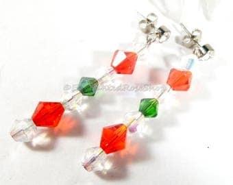 Christmas Earrings Swarovski Crystal Earrings, Rhinstone Earrings, Swarovski Earrings, Holiday Earrings, Christmas Jewelry, Fashion Earrings