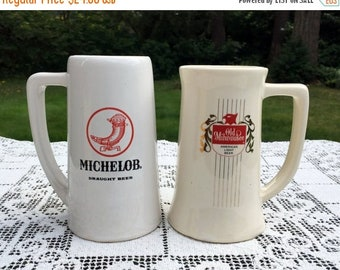 """17% OFF SALE Set of 2 Beer Steins/Ceramic Draught Beer Mugs/Michelob & Old Milwaukee/6"""" White Beer Mugs/ Man Cave Decor/McCoy Pottery Mugs/O"""