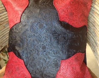 15% OFF Western red and black faux leather pillow cover