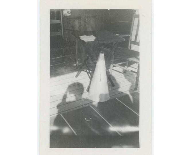 Vintage Photo Snapshot: Megaphone, Table, Chair & Shadows (77591)