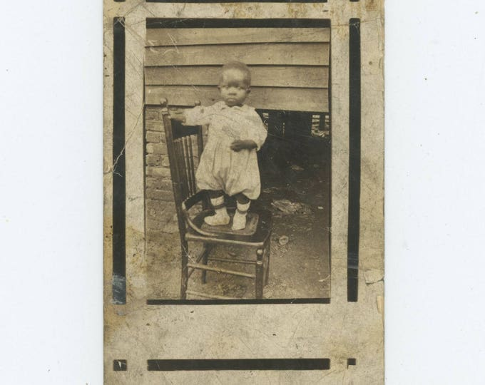 Vintage Snapshot Photo RPPC: Portrait of Small African American Boy Standing on Chair, c1910s-20s [81642]