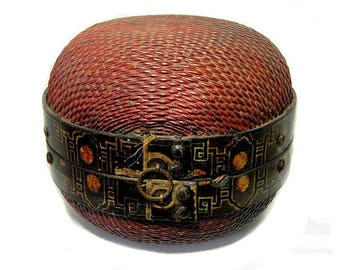 Large Antique Chinese Painted Domed Dumpling Basket