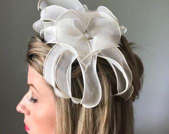Vintage 60s Bridal Petal Topper Hat