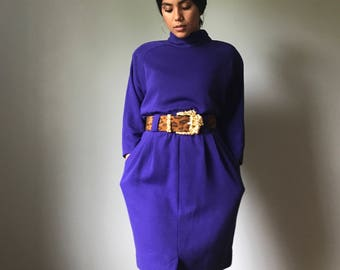 Vintage 80s Dolman Sleeve Purple Sweater Dress