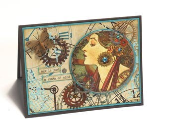 Steampunk birthday card, clocks and gears, Victorian woman, industrial age, mixed media collage blank cards, age is a state of mind