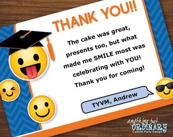 Emoji Graduation Thank You Note, Printable Emoji Grad Flat Thank You Card, EDITABLE Thank You Note, INSTANT DOWNLOAD, digital file