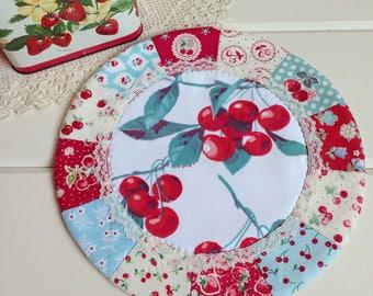 sweet vintage cherry patchwork doily