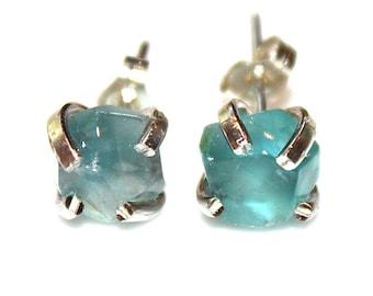 Raw Fluorite Stud Earring Silver Earring Aqua Fluorite Jewelry Free Form Mismatched Earring Caribbean Blue Prong Set Earring Raw Gemstone