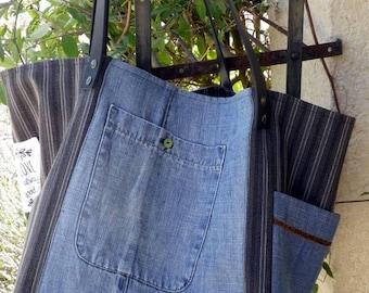 Cabas XXL en jean recyclé et toile ancienne à rayures