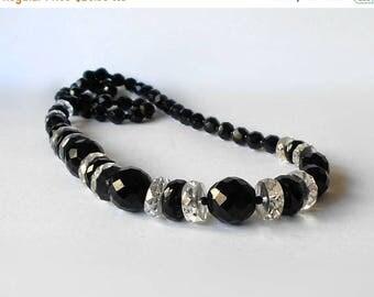 CIJ SALE Vintage Necklace Jet Black & Clear faceted Glass Beads