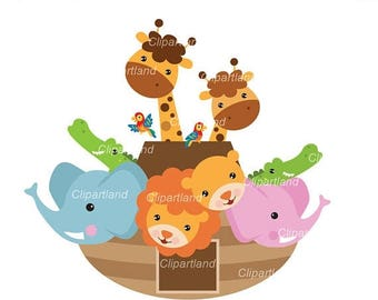 ON SALE INSTANT Download.  Noah's Ark clip art. Car_14. Personal and commercial use.