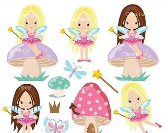 ON SALE INSTANT Download. Garden fairy party clip art. Cf_27_Fairy.  Personal and commercial use.