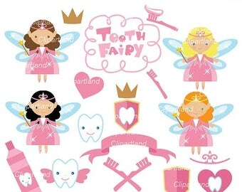 ON SALE INSTANT Download.  Tooth Fairy clip art. Ctf_1. Personal and commercial use.