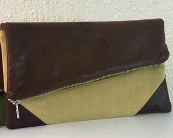 Spring Clearance Foldover Clutch,  Fold Over Linen Bag,  Vegan Leather Foldover Bag, Gift for Her, Fold Over Clutch, Folded Clutch, Fold Ove
