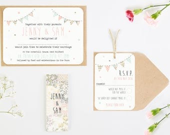 Floral Patchwork Bunting Wedding Invitation Bundle