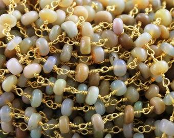 Ethiopian Opal Rosary Chain, Ethiopian Opal Wire Wrapped Beaded Chain, 3 mm, Wire Wrapped Opal Rosary Chain Gold Finish, (ROS-OPL-100/GL)