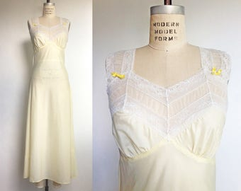 1940s Nightgown Yellow Vintage 40s Lingerie White Lace Negligee French Maid / Small