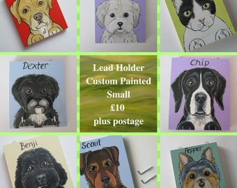 Dog Lead Holder Small Personalised Pet Portrait Custom Painted 1 dog two hooks